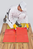 El trabajador aplica las baldosas cerámicas Imagen de archivo