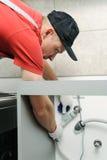 El trabajador ata una manguera del agua a la válvula imagenes de archivo