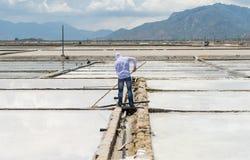 El trabajador con la herramienta trabaja en el campo de la sal fotografía de archivo libre de regalías