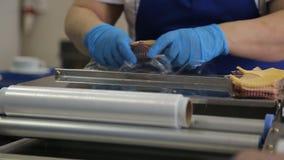 El trabajador con un mecanismo de alimentación para el abrigo del estiramiento embala la comida en envase almacen de metraje de vídeo