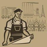 El trabajador construye realidad y hace que los sueños vienen verdad ilustración del vector
