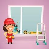 El trabajador de sexo femenino está instalando la ventana Imagen de archivo