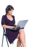 El trabajador del llamar-centro Imagen de archivo libre de regalías