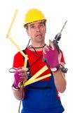 El trabajador es con exceso de trabajo Imagen de archivo
