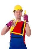 El trabajador es con exceso de trabajo Imagenes de archivo