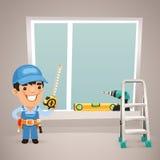 El trabajador está instalando la ventana Foto de archivo