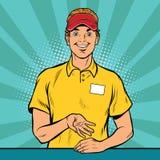 El trabajador feliz de los alimentos de preparación rápida toma la orden libre illustration