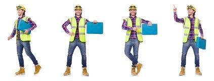 El trabajador industrial aislado en blanco foto de archivo libre de regalías