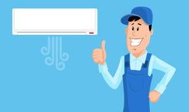 El trabajador instaló el acondicionador de aire y el pulgar de la demostración Imagen de archivo
