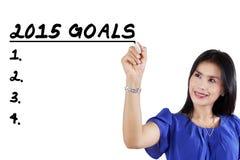El trabajador le hace metas en 2015 Imagenes de archivo