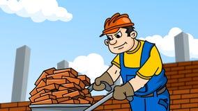 El trabajador lleva ladrillos en una carretilla Imagen de archivo
