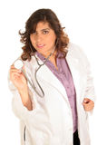 El trabajador médico escucha usted Imagenes de archivo
