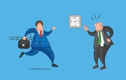El trabajador a mano del hombre de negocios del vector tarde para el trabajo y el jefe enojado le muestra que cu?ndo es libre illustration