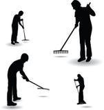 El trabajador recoge las hojas del rastrillo stock de ilustración