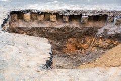 El trabajo de la reparación del camino Foto de archivo