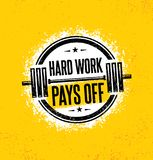 El trabajo duro paga apagado Muestra inspiradora del ejemplo de la cita de la motivación del gimnasio del entrenamiento y de la a stock de ilustración