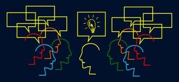 El trabajo en equipo construye idea grande Imagen de archivo