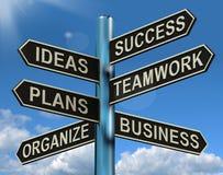 El trabajo en equipo de las ideas del éxito planea el poste indicador que muestra planes empresariales y Fotos de archivo libres de regalías