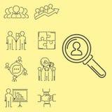 El trabajo en equipo del negocio teambuilding la línea fina iconos trabaja a la gestión del comando Imagen de archivo libre de regalías