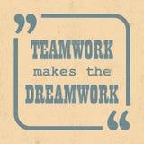El trabajo en equipo hace el dreamwork Cita de motivación inspirada Ilustración del vector stock de ilustración
