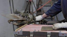 El trabajo en la empresa recoge el disipador de calor de cobre Piezas para los coches almacen de video