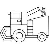 El tractor embroma las figuras geométricas que colorean la página Fotografía de archivo