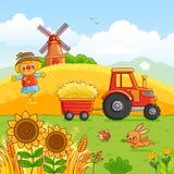 El tractor lleva un heno libre illustration