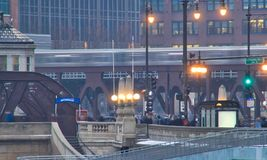 El train speeds over the Chicago Loop on a foggy morning in January. Royalty Free Stock Image