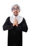 El traje de la monja del hombre que lleva aislado en blanco Fotos de archivo