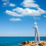 El Trampoli海滩Denia在阿利坎特地中海 免版税库存照片