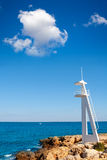 El Trampoli海滩Denia在阿利坎特地中海 免版税图库摄影