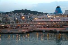 El transbordador de Barcelona llega en el puerto de Palma el amanecer Fotos de archivo libres de regalías