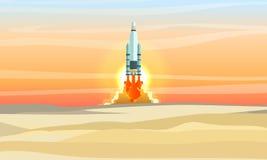 El transbordador espacial saca sobre el desierto Lanzamiento del cohete de espacio Vertido en el desierto ilustración del vector
