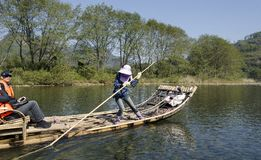 El transportar en balsa de bambú de la corriente de Jiuquxi Foto de archivo libre de regalías
