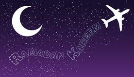 El transporte aéreo de aire nocturno del cielo se nubla diseño de saludo islámico del kareem del Ramadán stock de ilustración