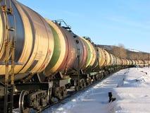 El transporte del petróleo por el carril Imágenes de archivo libres de regalías