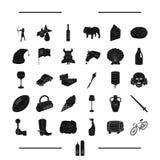 , el transporte, el postre y el otro icono del web en estilo negro animal, iconos del viaje en la colección del sistema ilustración del vector
