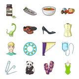 El transporte, la reconstrucción, el animal y el otro icono del web en estilo de la historieta Medicina, belleza, iconos de la mo Fotografía de archivo