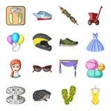 El transporte, la reconstrucción, el animal y el otro icono del web en estilo de la historieta Medicina, belleza, iconos de la mo Imagenes de archivo