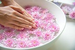 El tratamiento y el producto del balneario para los pies y la manicura femeninos clava el balneario con la flor rosada, espacio d Imagen de archivo libre de regalías