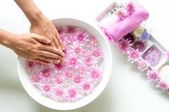 El tratamiento y el producto del balneario para los pies y la manicura femeninos clava el balneario con la flor rosada, espacio d Fotografía de archivo