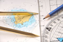 El trazar en un Seamap Fotos de archivo