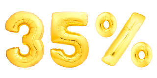 El treinta y cinco 35 por ciento de oro Imágenes de archivo libres de regalías