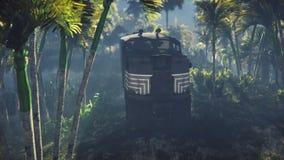 El tren arruinado miente en la selva en el medio de las palmeras y de la vegetación tropical libre illustration