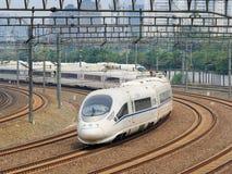 El tren de bala sale de Pekín, China Imagenes de archivo