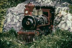 El tren del vapor sale del túnel vendimia Foto de archivo