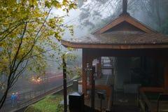 El tren en la niebla Fotografía de archivo libre de regalías