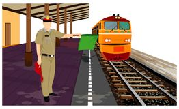 El tren en la plataforma ilustración del vector