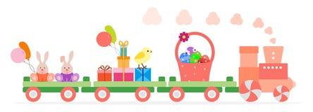 El tren lleva los s?mbolos de Pascua Regalos para el d?a de fiesta stock de ilustración