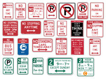 El tráfico señal adentro los Estados Unidos - estacionamiento prohibido Fotografía de archivo libre de regalías